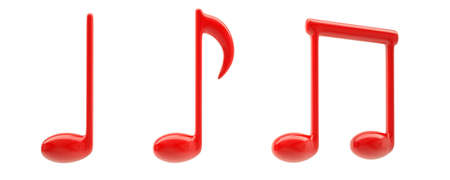 quavers: Red musical signs. Isolated render on a white background