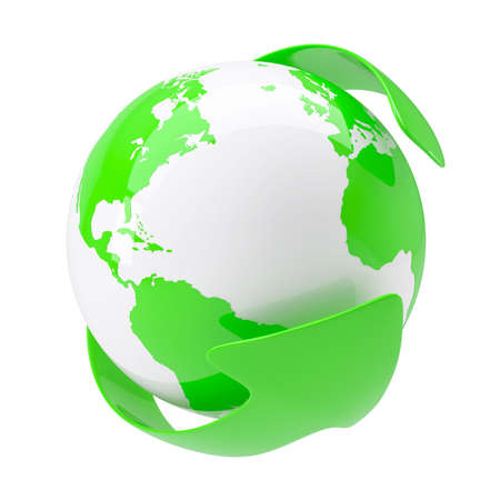 Green arrow around the earth. Isolated render on a white background photo