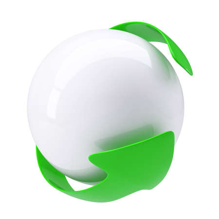 Green Arrow around a white sphere. Isolated render on a white background Stock Photo - 17188017