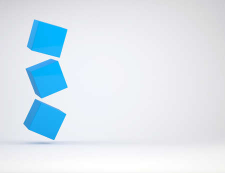Three cube. The gray background Stock Photo - 17188041
