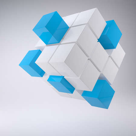 Abstract cube made ??up of blocks. The gray background Stock Photo - 17188056