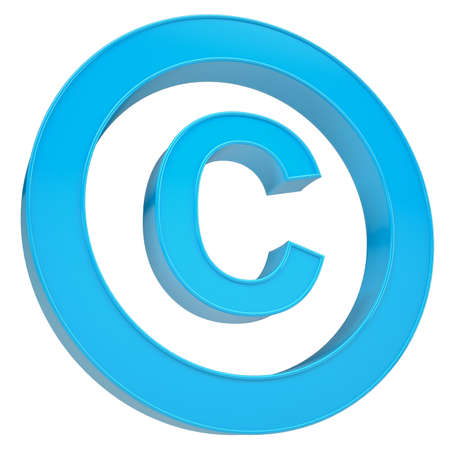 use regulation: Blue sign copyright. Isolated render on a white background