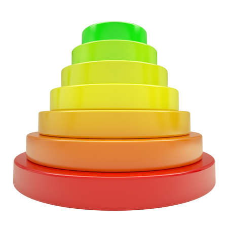 Pyramid of colored discs. Isolated render on a white background Stock Photo - 17188057