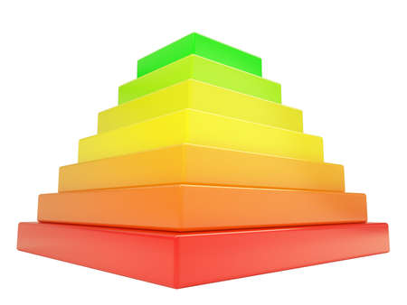 Pyramid of colored cubes. Isolated render on a white background photo