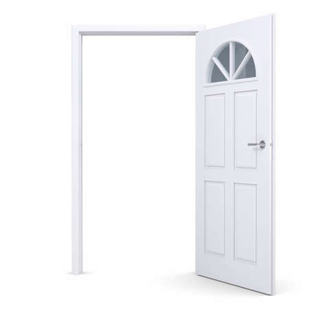 White open door. Isolated render on a white background Stock Photo - 17304419