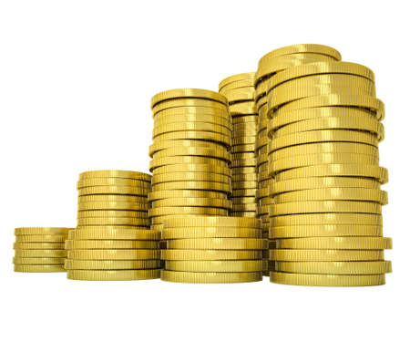 coins shot in golden color: Pile gold coins. Isolated render on a white background