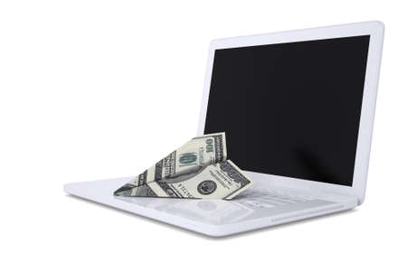White laptop and the plane of dollars  Isolated render on a white background Stock Photo - 17304432