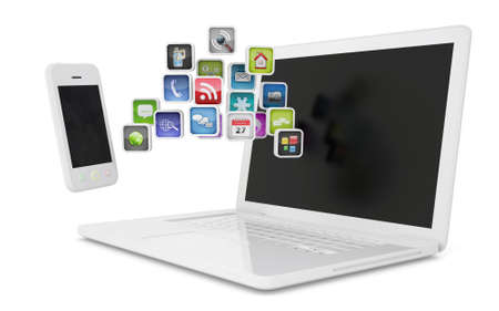 White laptop and smartphone communicate  Isolated render on a white background photo