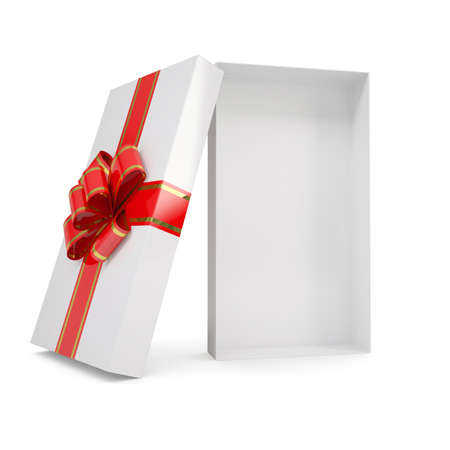 blank box: Open gift box  Isolated render on a white background Stock Photo