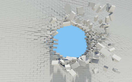 Hole in a brick wall  Sky in the background Stock Photo - 17304483