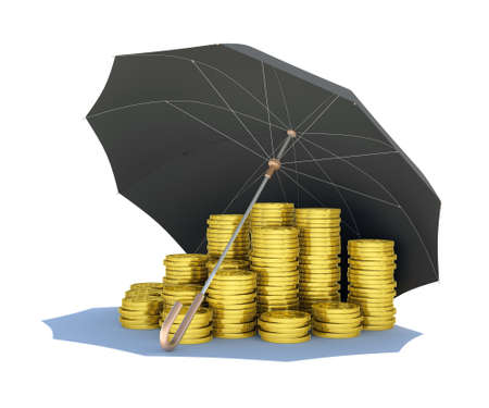 Black umbrella covers gold coins  Isolated render on a white background Stock Photo - 17304457