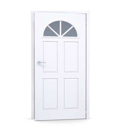 White door slightly open. Isolated render on a white background photo
