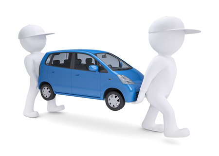 automotive industry: Two white 3d man bear a blue car. Isolated render on a white background Stock Photo