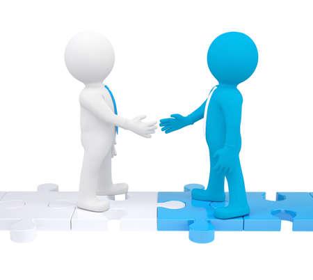 entreprise puzzle: Deux personnes 3d en agitant les mains. Rendre isol� sur un fond blanc
