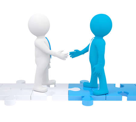complete solution: Two 3d people shaking hands. Isolated render on a white background