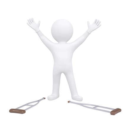 fractura: 3d hombre arroj� sus muletas. Render aislado en un fondo blanco