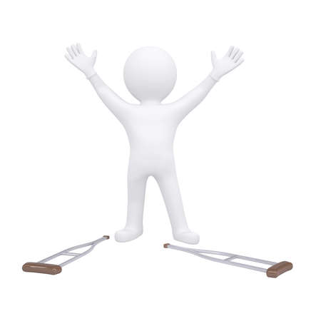 healed: 3d man threw his crutches. Isolated render on a white background