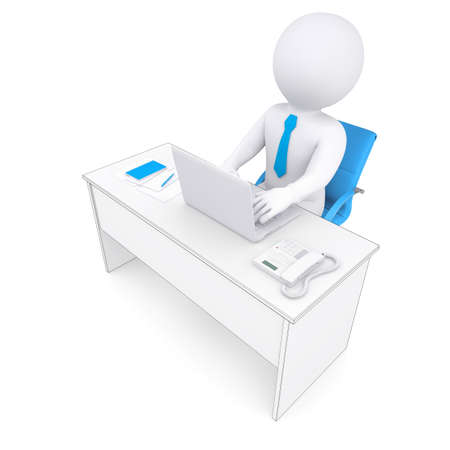 3d white human sitting at a table. Working at a laptop. Isolated render on a white background photo