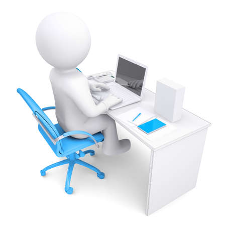 sitting at desk: 3d white man working at a laptop. On the table in a white box. Isolated render on a white background