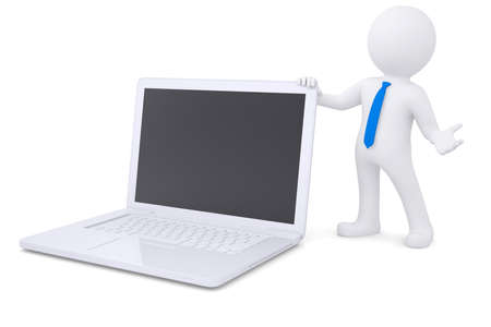 3d white man next to the laptop. Isolated render on a white background photo