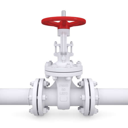 pipeline: Valve on the pipeline  Isolated render on a white background Stock Photo
