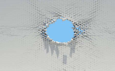 Hole in a brick wall  Sky in the background Stock Photo - 17498202