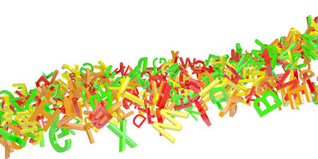 Stream of colored letters. Isolated 3d rendering photo