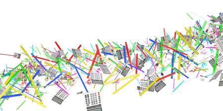 Stream of colored stationery. Isolated 3d rendering photo