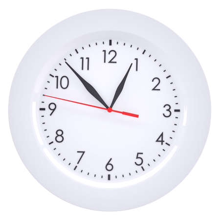Clock in the plate. Isolated render on a white background photo