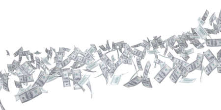 cash flows: Flow of money. Dollar. Isolated 3d rendering