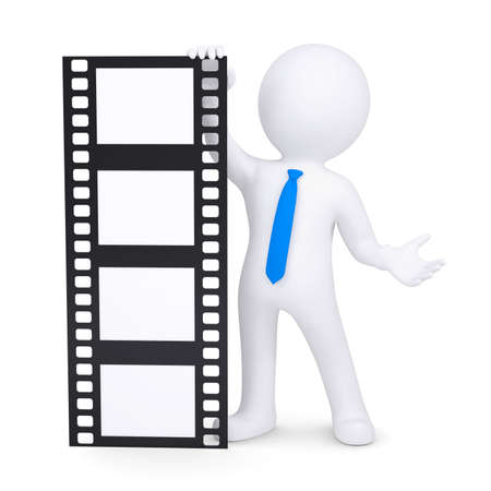 3d man holding a film. Isolated render on a white background Stock Photo - 17605371