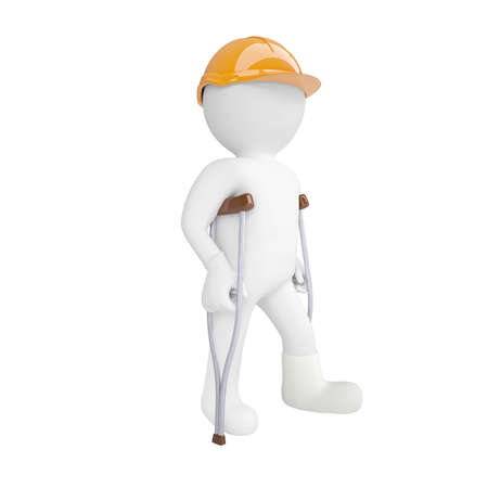 healthcare workers: 3d white man in a helmet and on crutches. Isolated 3d rendering