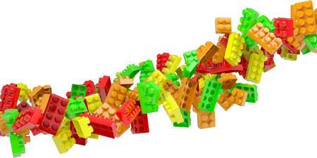 Stream of colored children's blocks. Isolated 3d rendering photo