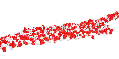 The flow of red and white pills  Isolated 3d rendering photo