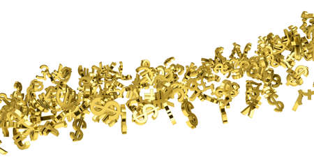 The flow of gold currency symbols  Isolated 3d rendering photo