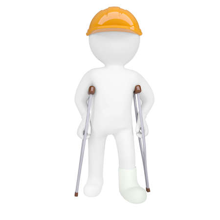 3d white man in a helmet and on crutches. Isolated 3d rendering photo