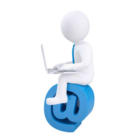 browse: 3d man with laptop sitting on the email icon  Isolated render on a white background Stock Photo