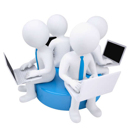 man with laptop: Four 3d man with laptop sitting on a blue disk  Isolated render on a white background