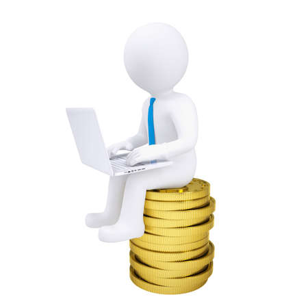 3d man with laptop sitting on a pile of gold coins  Isolated render on a white background Stock Photo - 17741662
