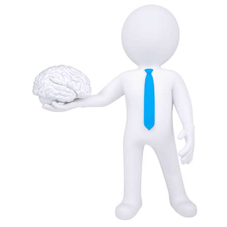 cerebra: 3d man holding a brain  Isolated render on a white background