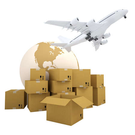 Earth, cardboard boxes and the plane  Isolated 3d rendering Stock Photo - 17741703