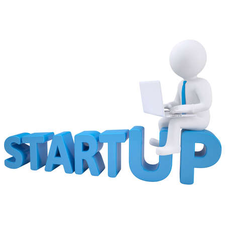 startup: 3d man sitting with a laptop on the word startup Stock Photo
