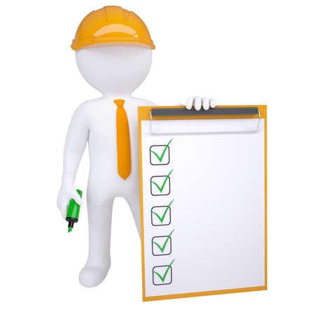 certification: Humano 3d en casco con marcador y render lista de verificaci�n aislado sobre fondo blanco