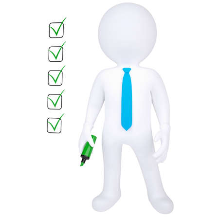 certification: 3d human with marker and check list  Isolated render on white background