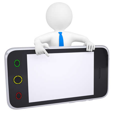 gsm: 3d man points a finger at the screen smartphone  Isolated render on a white background