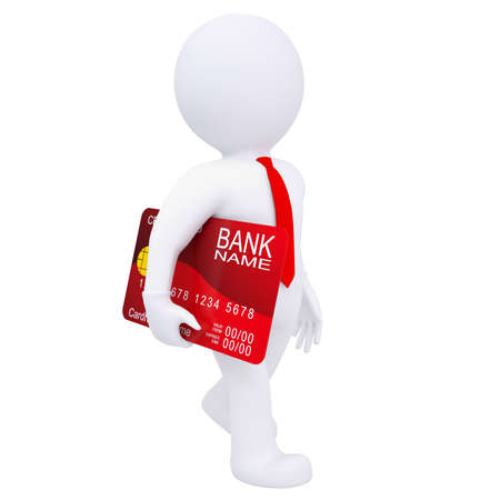 creditcard: 3d man carries a credit card  Isolated render on a white background