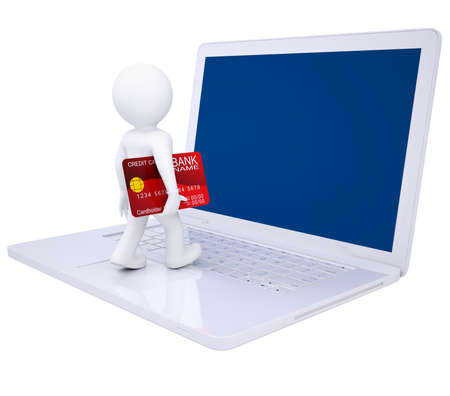3d man with credit card makes online shopping  Isolated render on a white background photo
