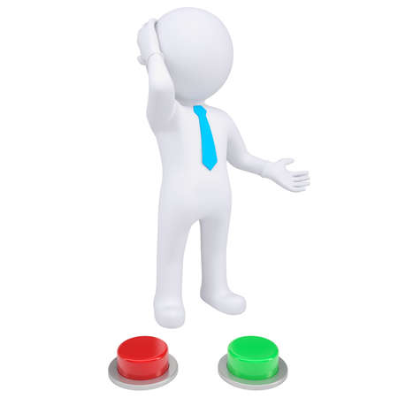 deciding: 3d man standing near the red and green buttons  Isolated render on a white background