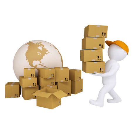 stacking: 3d man carries boxes  Isolated render on white background Stock Photo