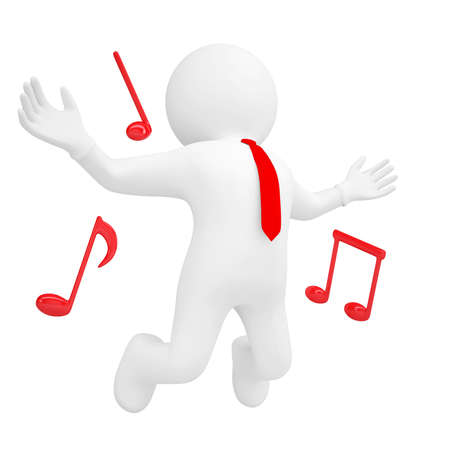 humor jump: 3d man jumping up and music sign  Isolated render on a white background